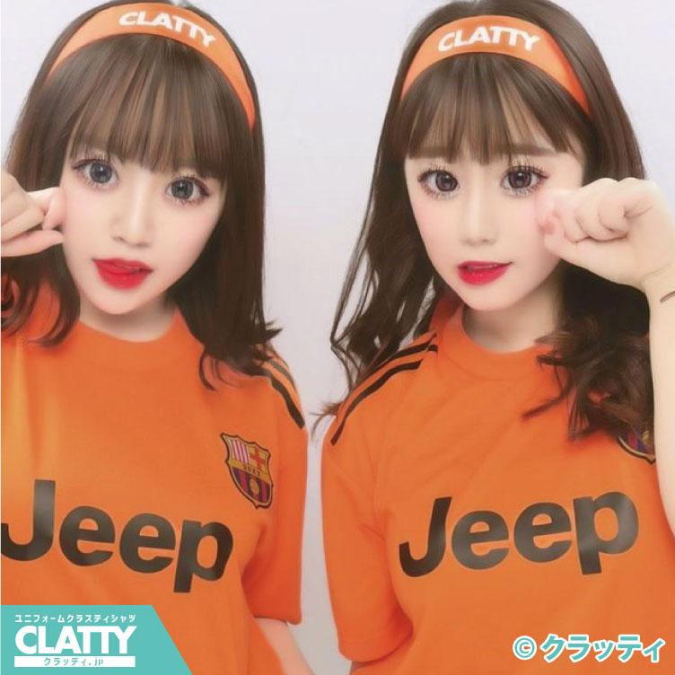 オレンジブラックサッカーユニフォーム